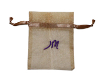 Organza jewelry bag with embroidery logo
