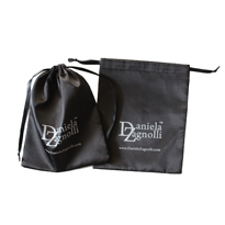 Black satin drawstring jewelry bag