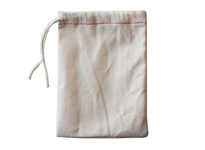 Red hem single drawstring cotton muslin bag