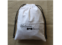 White brushed cotton bag with black draw string