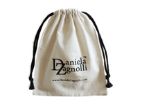 Small muslin bag with black drawstring