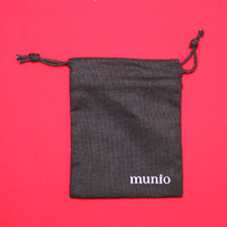 Black cotton muslin jewelry bag