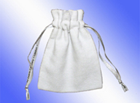 Cotton bag with logo print on ribbon drawstring