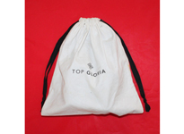 White twill cotton shoe bag with black ribbon drawstring