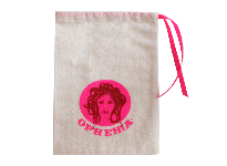 Cotton muslin bag with colour ribbon drawstring
