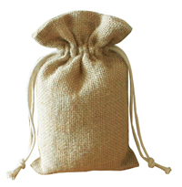 Jute burlap bag with cotton drawstring