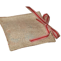 Burlap bag with colour ribbon